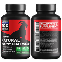 AZSPORT. Premium Horny Goat Weed Supplement with Maca Root, Korean Ginseng, Saw Palmetto, and L-Arginine, 60-Capsules