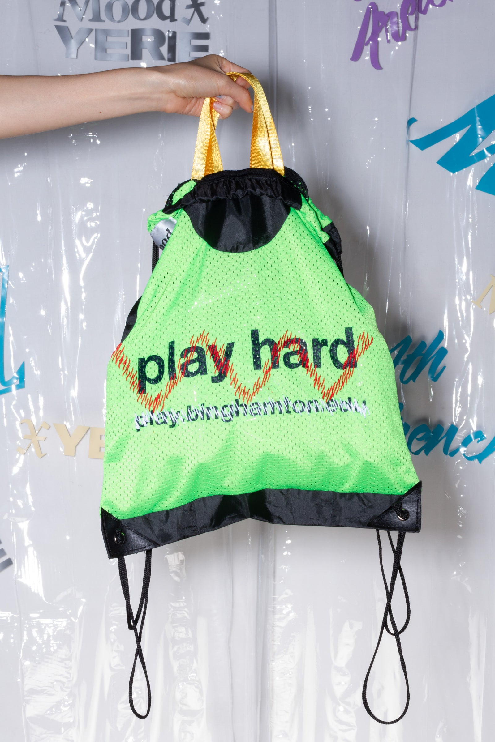 Play Hard Drawstring Backpack, Mood X Yerie
