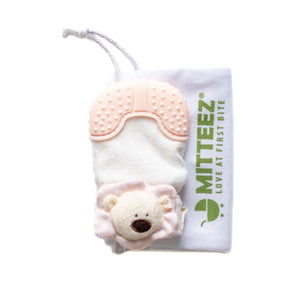 MITTEEZ® The Ultimate Organic Teething Mitty & Keepsake - Pea Bear (3-8 MONTHS) Pink