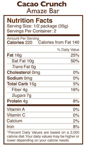 Cacao Crunch Chocolate Amaze Bar Nutrition Facts