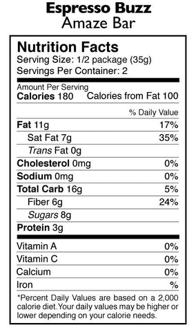 Espresso Buzz Amaze Bar Nutrition Facts