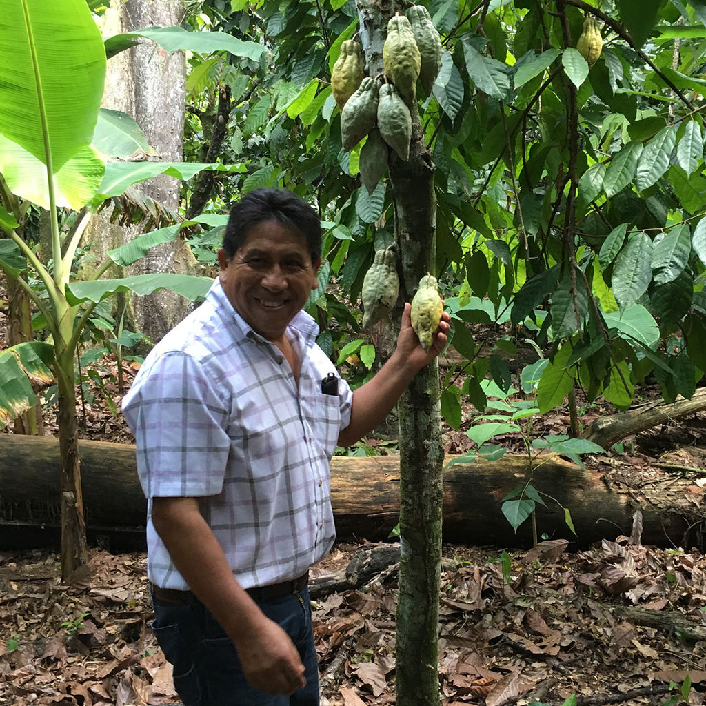 Gualberto of OKO Caribe shows off a beautiful cacao pod