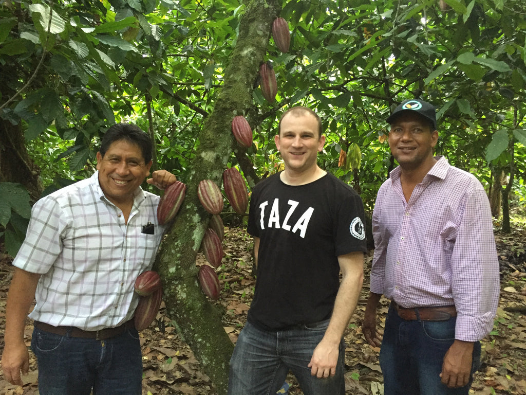 Taza Director of Cocoa Sourcing Jesse Last with Gualberto and Adriano of OKO Caribe