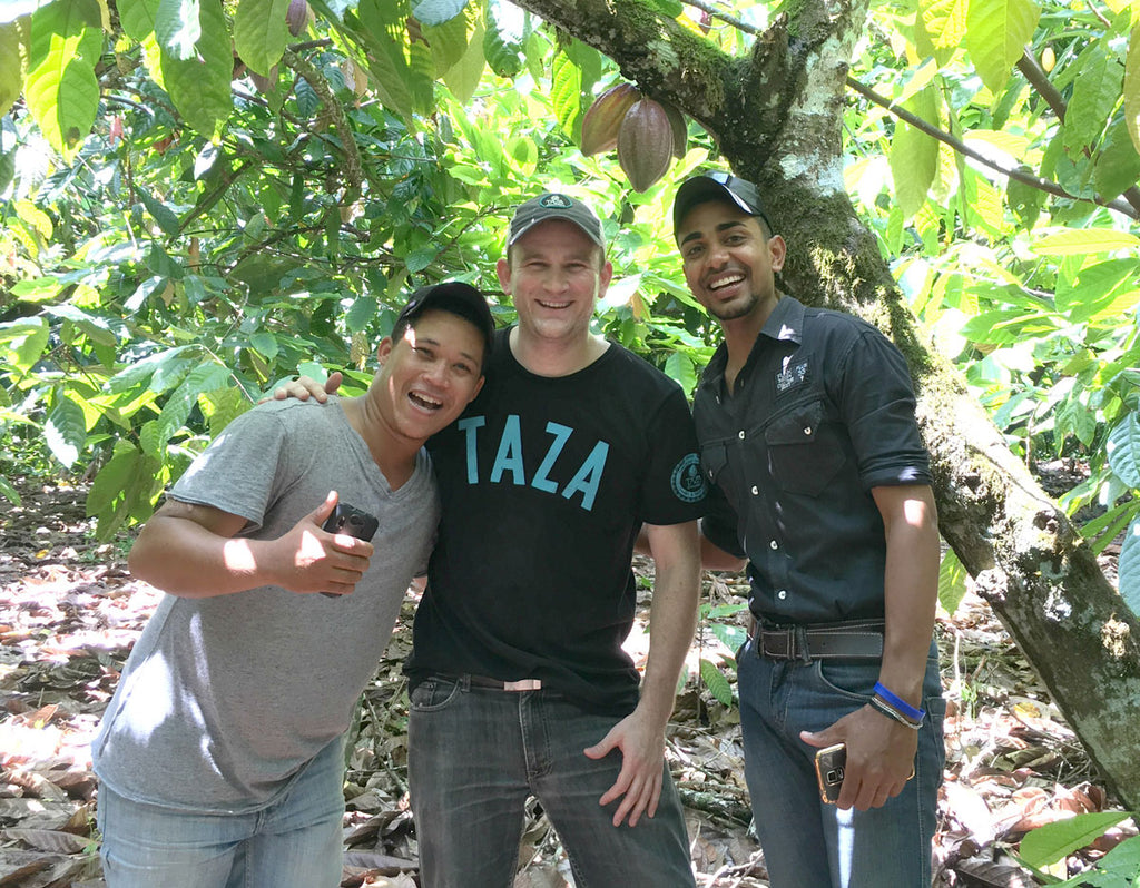 Taza Cocoa Sourcing Manager Jesse Last with Isidro Castillo and Esterlin Pion of Finca Elvesia in the Dominican Republic