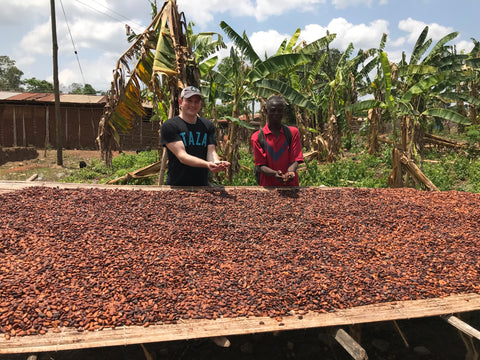 ABOCFA's Executive Committee Secretary Jacob and I examine some drying cacao beans