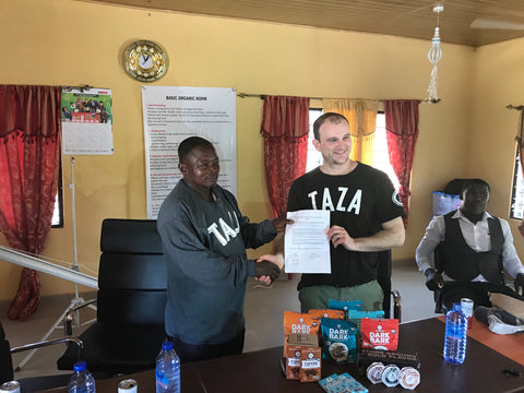 ABOCFA's President Kingsley and I sign Taza Chocolate's Direct Trade Agreement