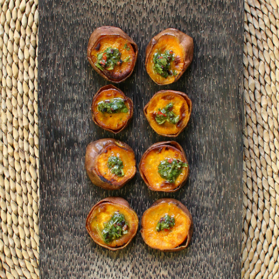 Roasted Yams with Green Cacao Nib Sauce