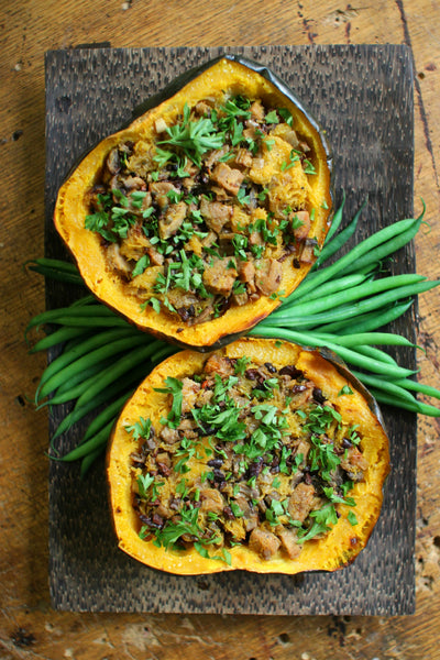 Sausage and Cacao Nib Stuffed Acorn Squash