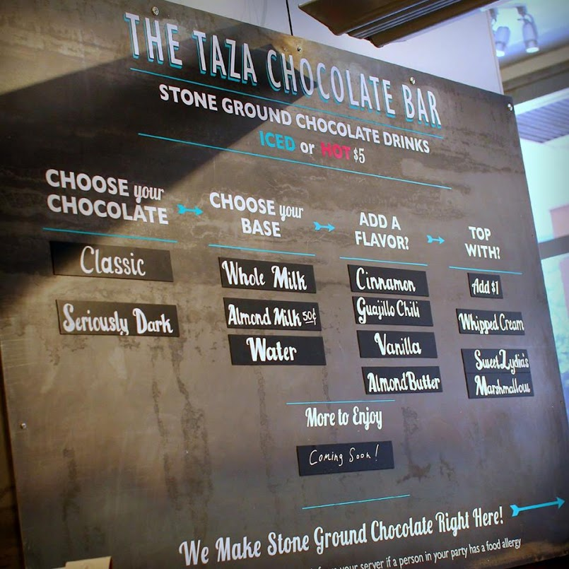 The Taza Chocolate Bar Menu