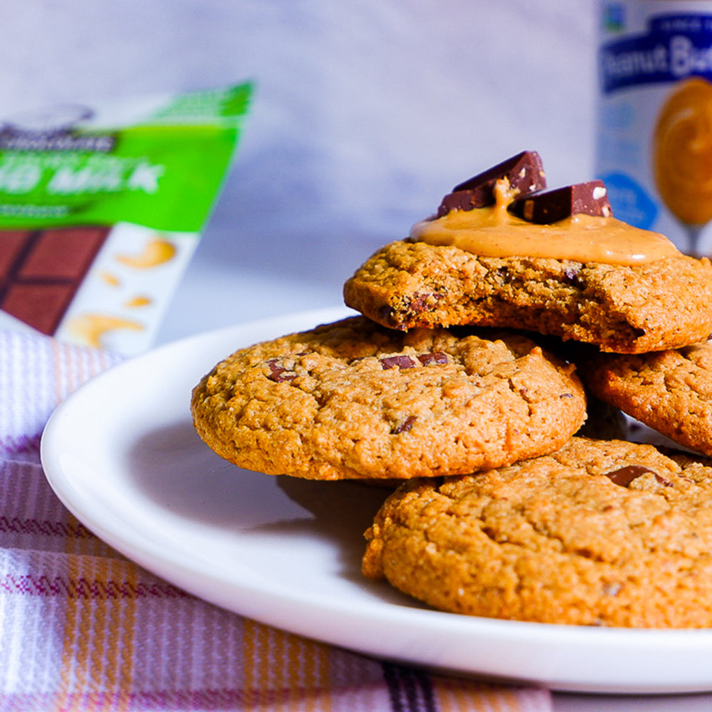 Orange Peanut Butter Chunk Cookies with Almond Milk Chocolate