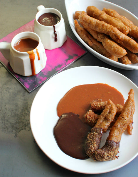 Churros With Chocolate & Caramel Dipping Sauces