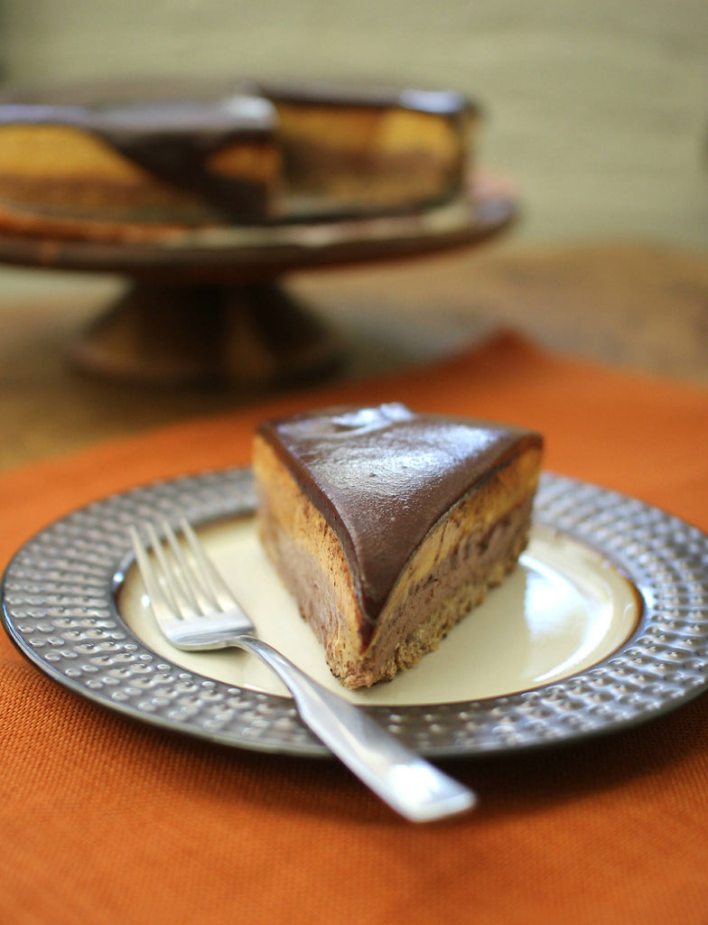 No Bake Chocolate-Pumpkin Cheesecake
