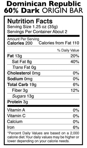 60% Dark Chocolate Dominican Republic Origin Bar Nutrition Facts