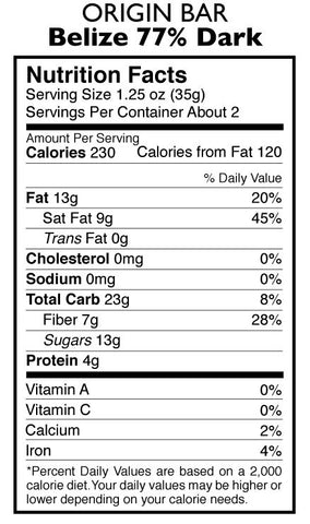 77% Dark Chocolate Belize Origin Bar Nutrition Facts