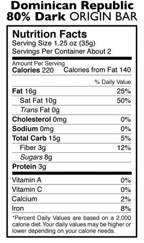 80% Dark Chocolate Dominican Republic Origin Bar Nutrition Facts