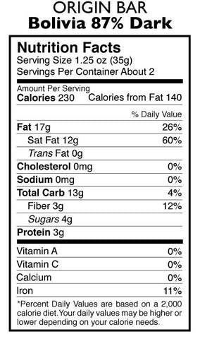 87% Dark Chocolate Bolivian Origin Bar Nutrition Facts