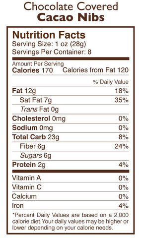 Chocolate Covered Nibs Nutrition Facts