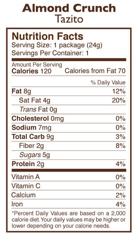 Almond Chocolate Crunch Tazitos Nutrition Facts