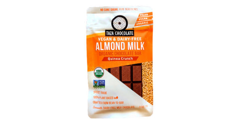 Taza dairy-free Almond Milk Chocolate bar with Quinoa Crunch
