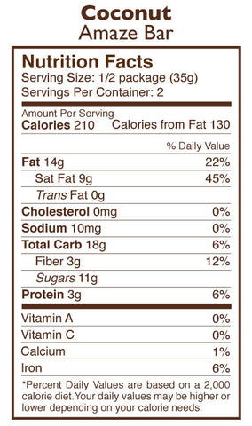 Coco Besos Coconut Chocolate Amaze Bar Nutrition Facts
