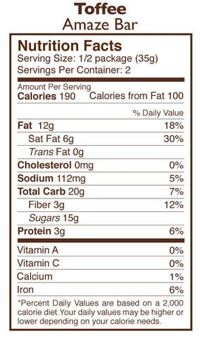 Toffee, Almond, & Sea Salt Chocolate Amaze Bar Nutrition Facts