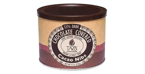 Chocolate Covered Nibs 8oz Can - Taza Chocolate