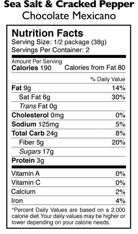 Sea Salt & Cracked Black Pepper Chocolate Mexicano Nutrition Facts