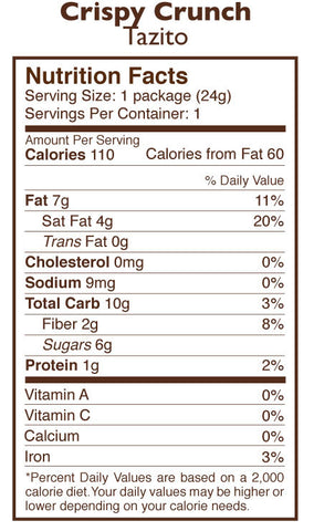 Crispy Crunch Chocolate Tazitos Nutrition Facts