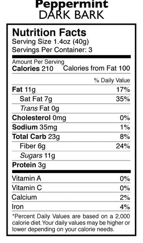 Peppermint Dark Bark Nutrition Facts | Taza Chocolate