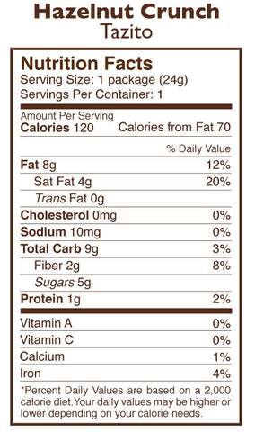 Hazelnut Crunch Chocolate Tazitos Nutrition Facts