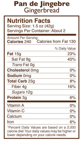 Pan de Jengibre Gingerbread Holiday Amaze Bar Nutrition Facts