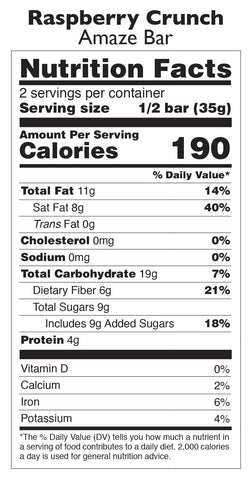 Raspberry Crunch Chocolate Amaze Bar Nutrition Facts