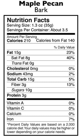 Maple Pecan Bark Nutrition Facts