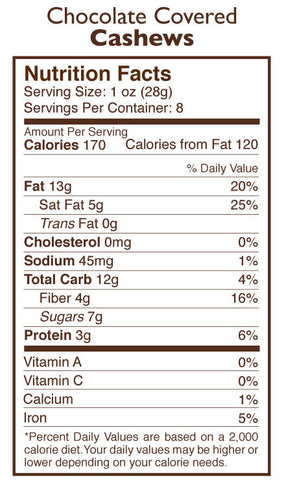 Chocolate Covered Cashews Nutrition Facts