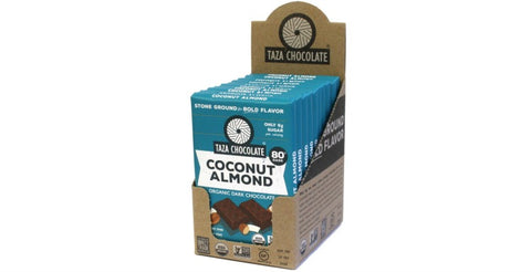Coconut Almond Chocolate Bars, Case 10 Bars - Taza Chocolate