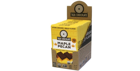 Maple Pecan Chocolate Bars, Case 10 Bars - Taza Chocolate