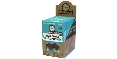 Sea Salt Almond Chocolate Bars, Case 10 Bars - Taza Chocolate