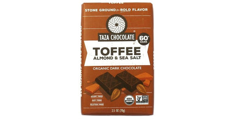 Toffee, Almond, & Sea Salt Chocolate Bar - Taza Chocolate