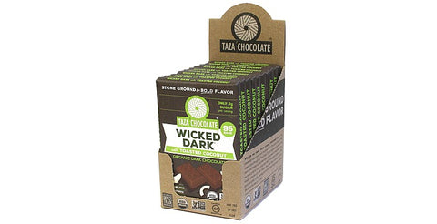 Wicked Dark with Toasted Coconut Chocolate Bars, Case 10 Bars - Taza Chocolate