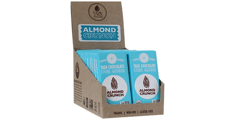 Almond Crunch Tazitos Chocolate Mini-Bars, Case 20 Chocolate Mini-Bars - Taza Chocolate