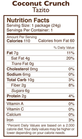 Coconut Chocolate Crunch Tazitos Nutrition Facts