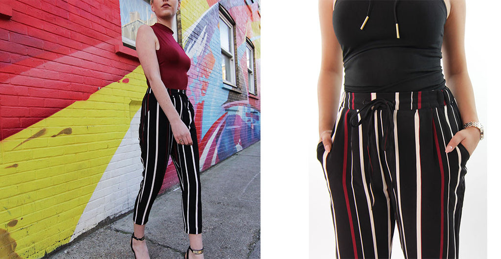 black and red stripe culotte trousers