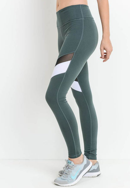 Womens - 'BALANCE' High Waist Leggings - Blue - Bottoms - TWOTHREE