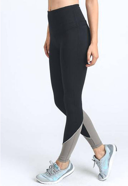 Womens - 'CONTRAST' High Waist Leggings - Black - Bottoms - TWOTHREE