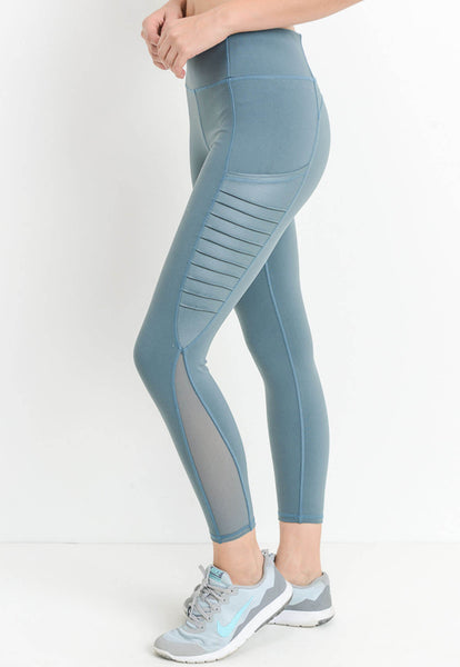 Womens - 'FIERCE' Pocket Leggings - Blue - Bottoms - TWOTHREE