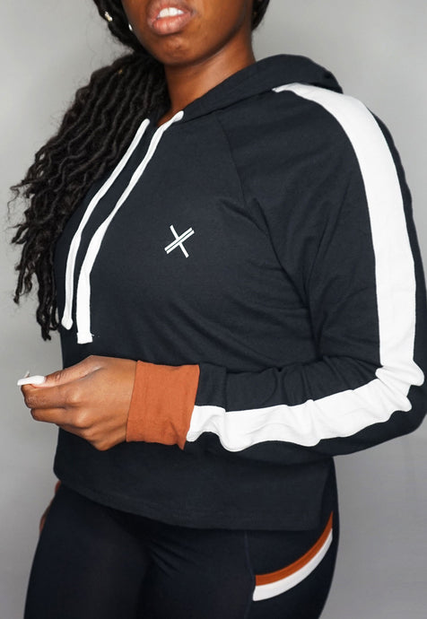 Womens - FIIT Colourblock Hoodie - Black - Tops - TWOTHREE