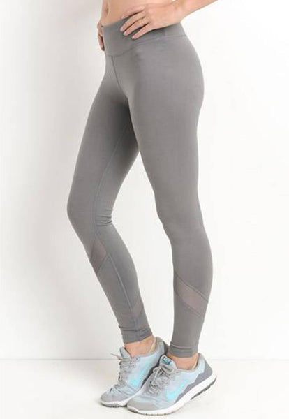Womens - 'FLEX' Panel Leggings - Grey - Bottoms - TWOTHREE