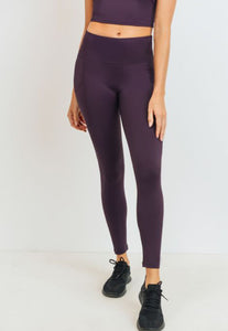 Womens - PUMP High Waist Pocket Leggings - Magenta - Bottoms - TWOTHREE