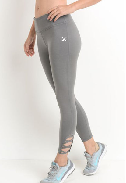 Womens - 'RELAX' High Waist Leggings - Grey - Bottoms - TWOTHREE