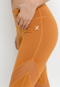 Womens - SCORPION High Waist Panel Leggings - Orange - Bottoms - TWOTHREE